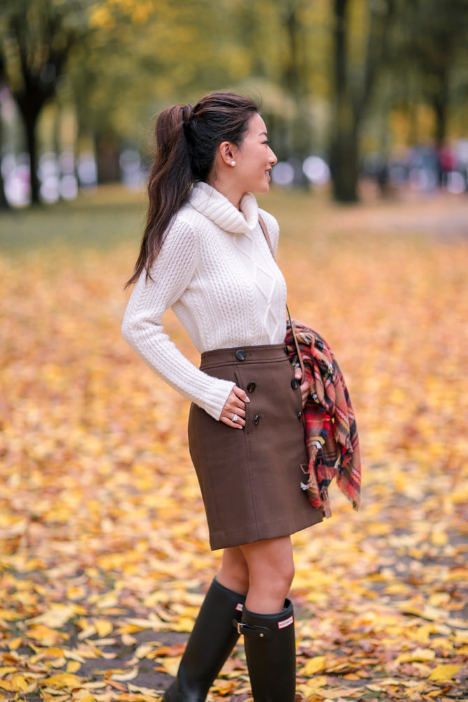 cable knit sweater skirt fall outfit ideas boston