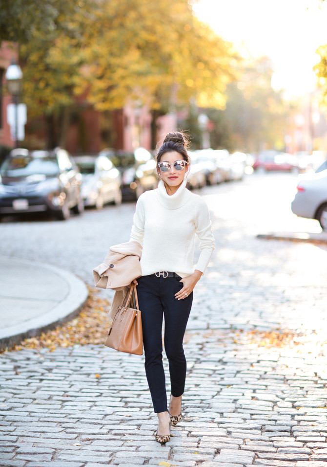 navy pants cream turtleneck sweater office outfit fall