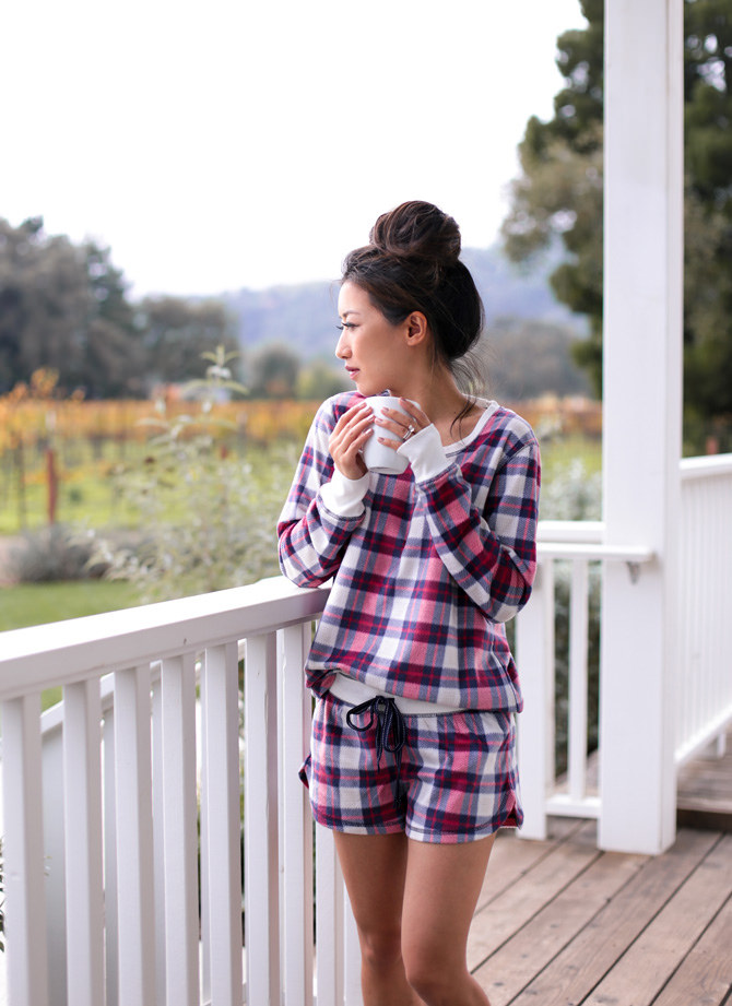 where to stay in napa valley_plaid holiday pajamas set