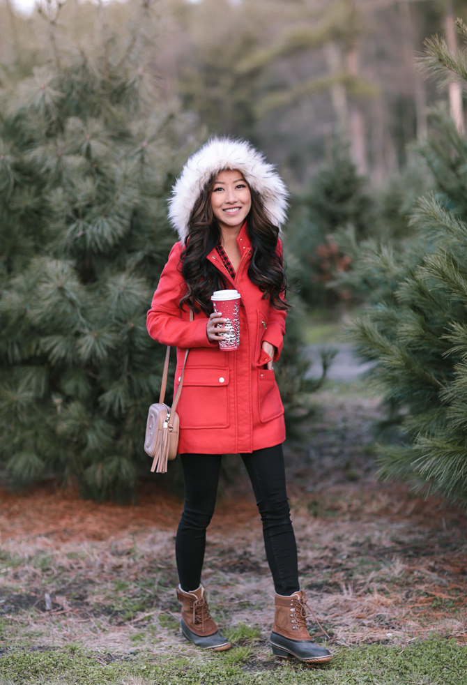 holiday red duffel coat faux fur hood extra petite