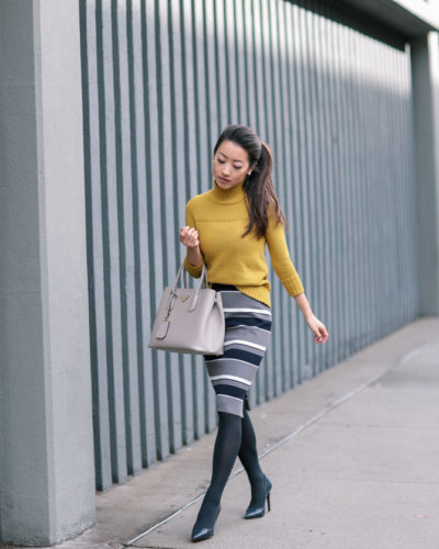 Retro Style: Mustard turtleneck + sweater pencil skirt