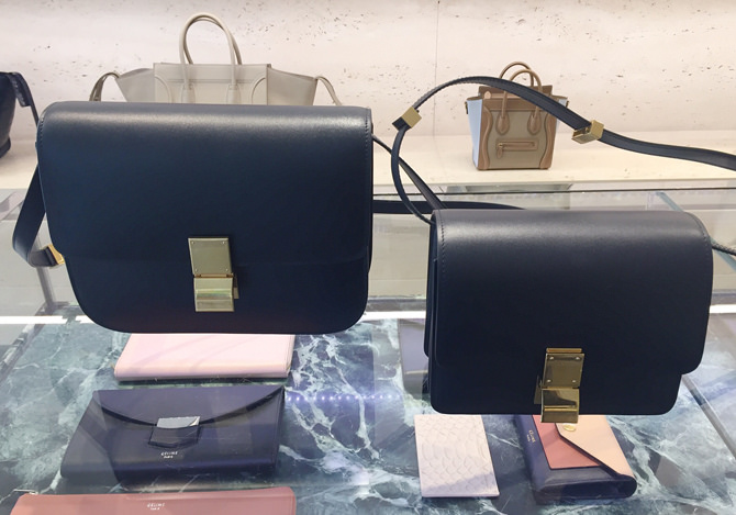 celine navy gold box bag medium vs small size comparison