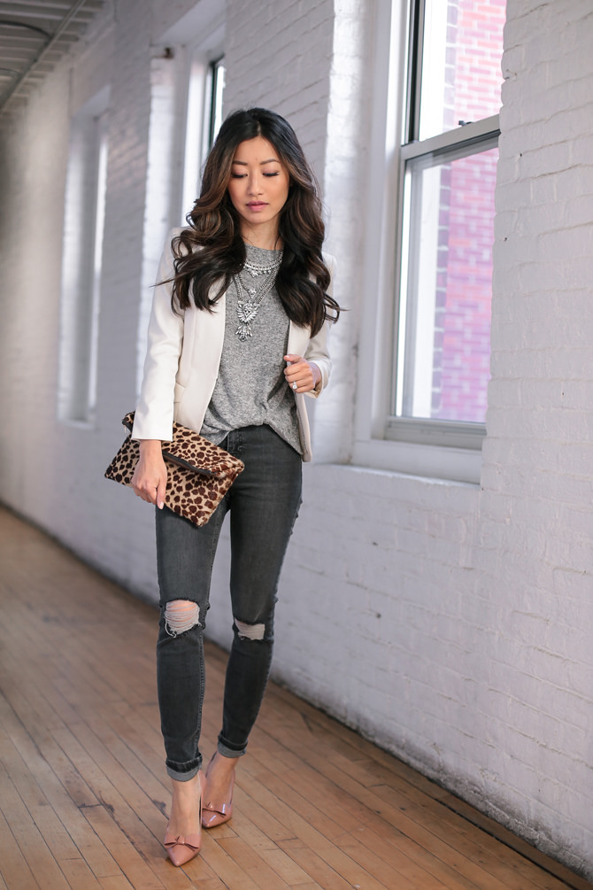 casual friday jeans blazer outfit petite