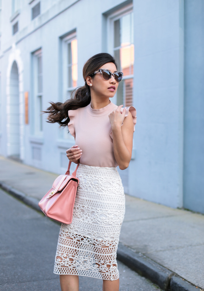sonix cat eye sunglasses lace skirt spring fashion outfit