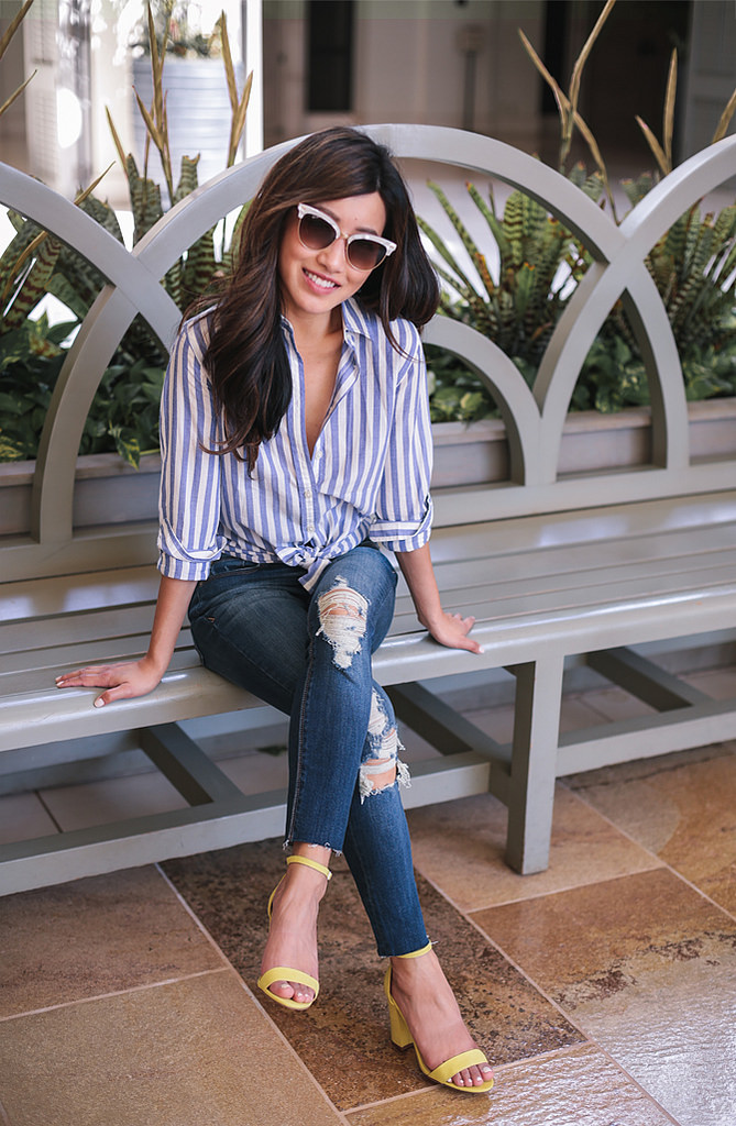 casual outfit jeans striped button down shirt yellow sandals