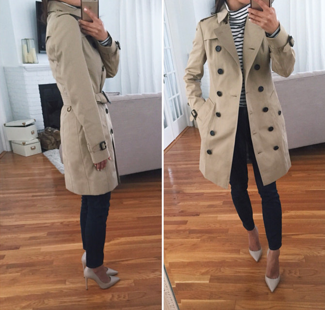 burberry sandringham check trench jacket sizing
