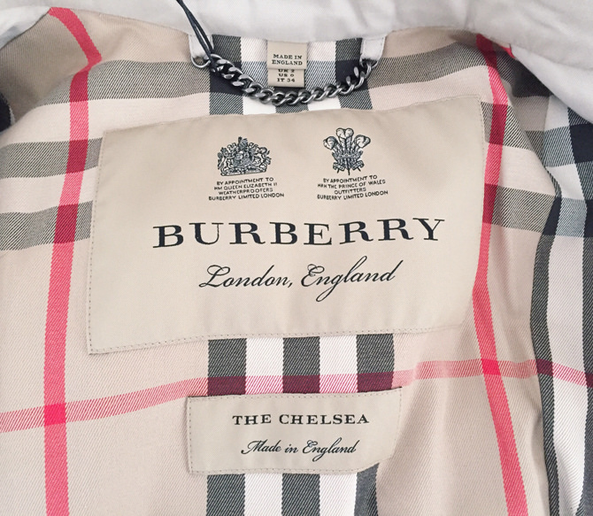 burberry chelsea trench coat interior lining