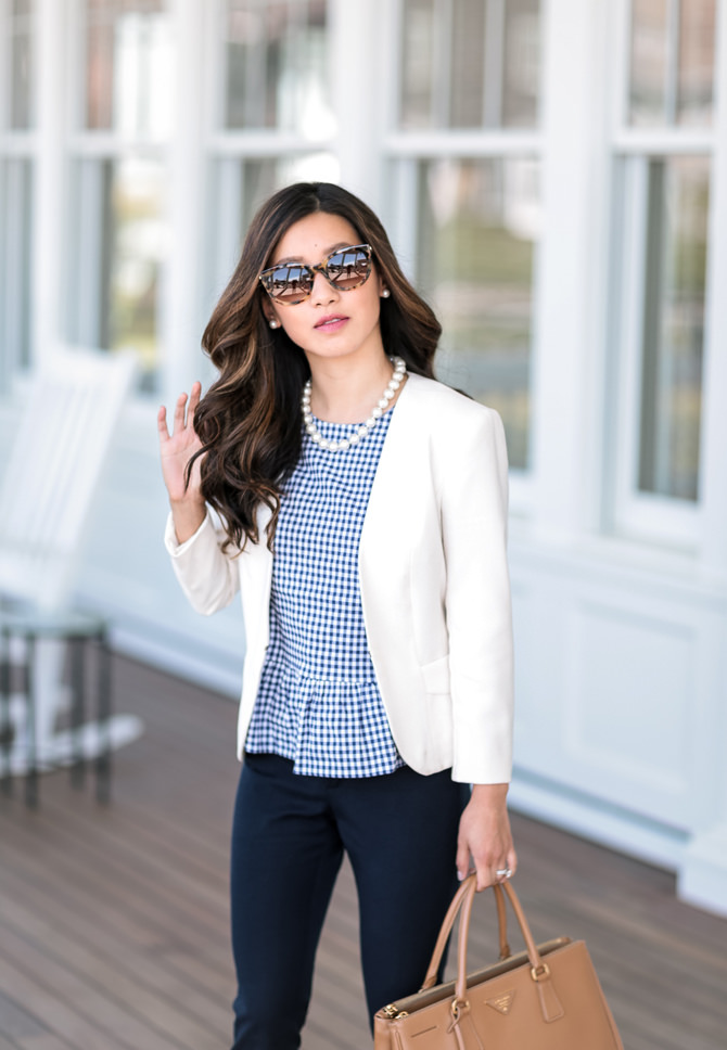 spring summer white blazer work office business casual outfit ideas
