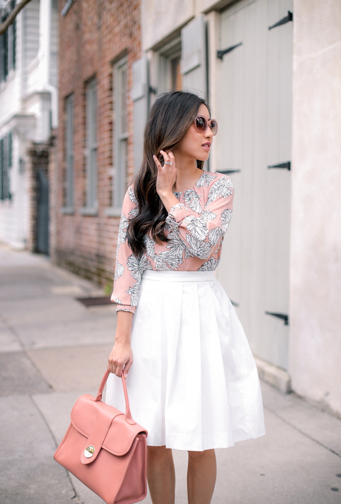 stylish outfits floral print top white skirt petite blog