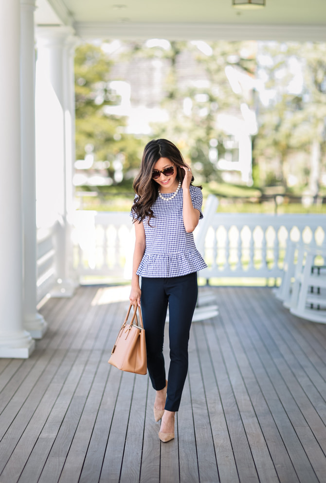 gingham peplum top cute spring summer work outfit petite style