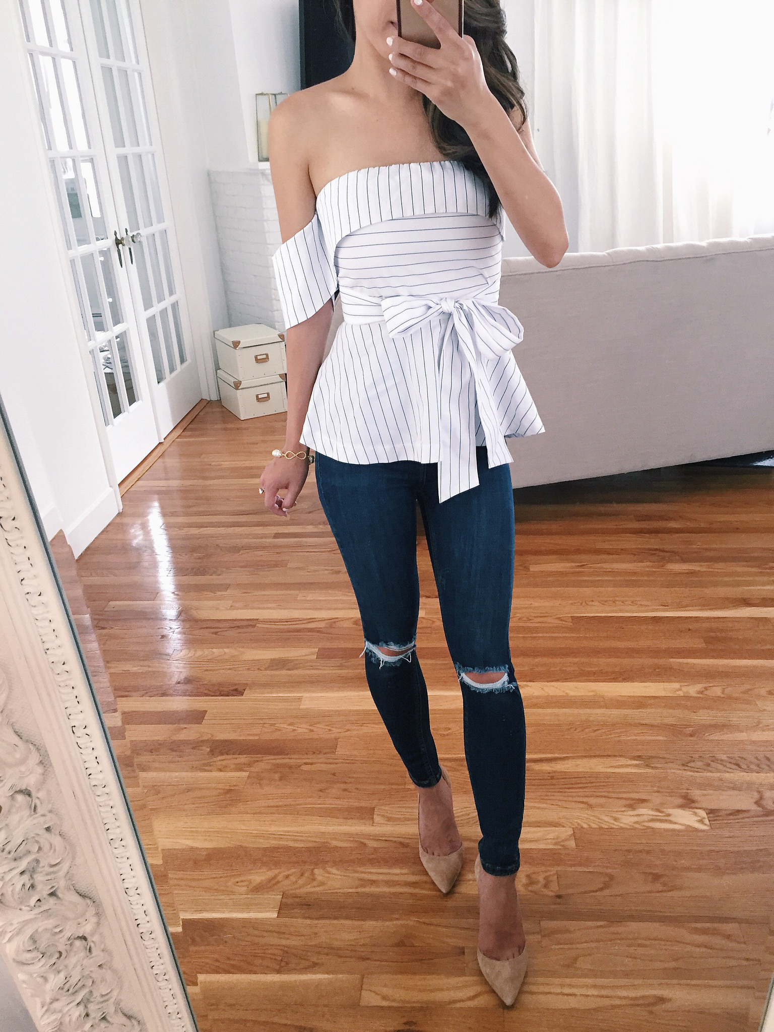 joa striped peplum bow top review