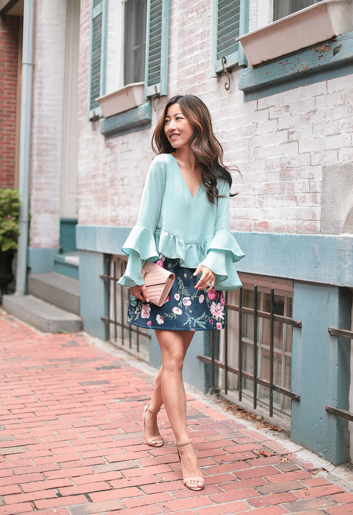 ruffle sleeve top navy skirt asos petite south end boston