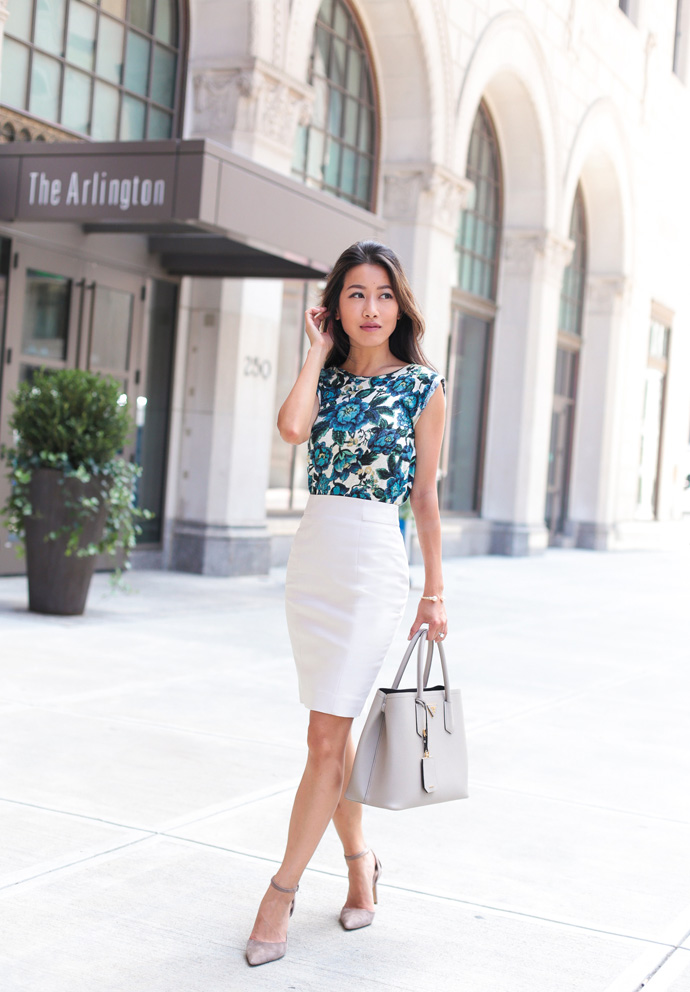 business casual pencil skirt outfit extra petite blog