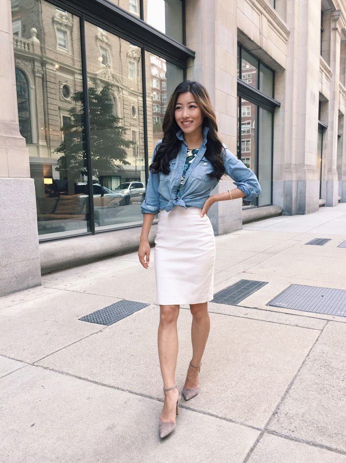 chambray-shirt-pencil-skirt-work-outfit-petite-fashion