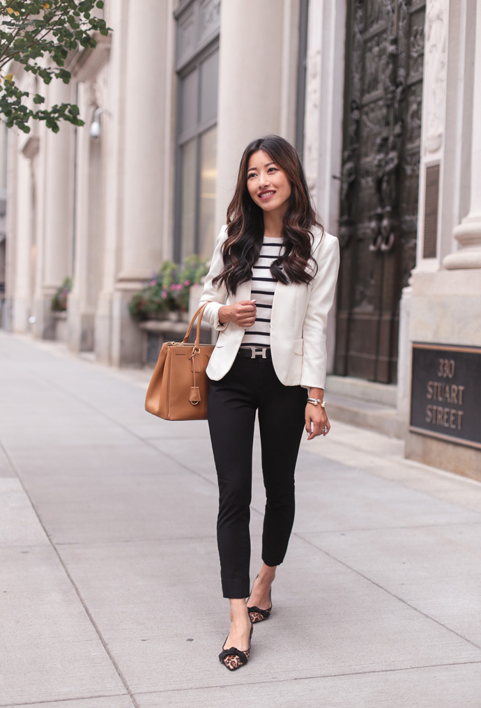 fall work outfit business casual blazer black pants
