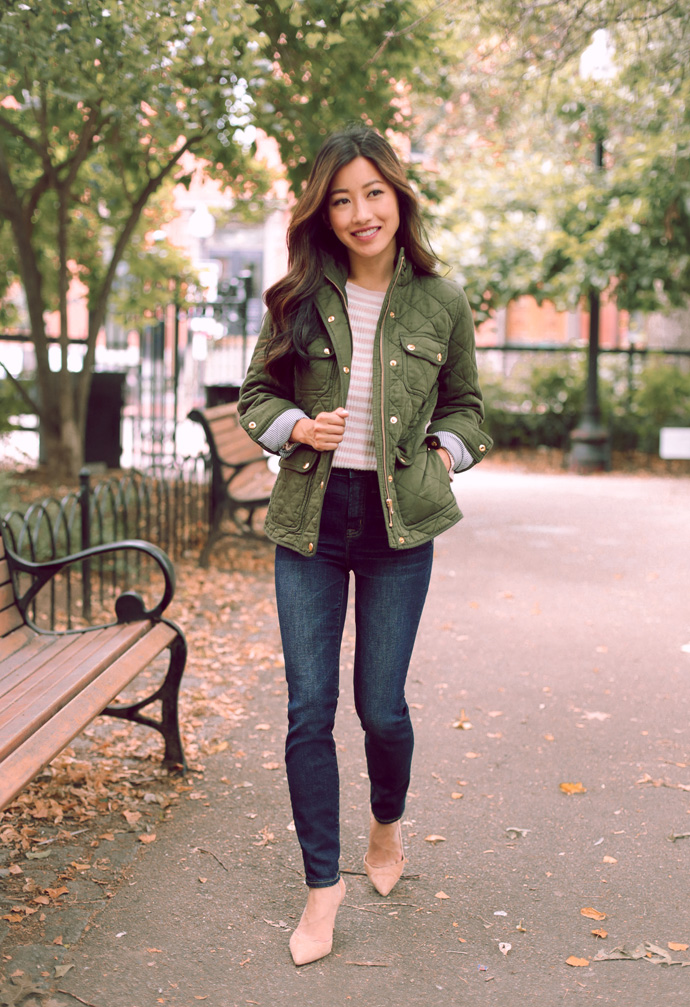 J.Crew fall // Stripe sweater + quilted field jacket