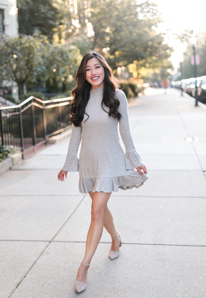 mini swing sweater dress petite fall fashion