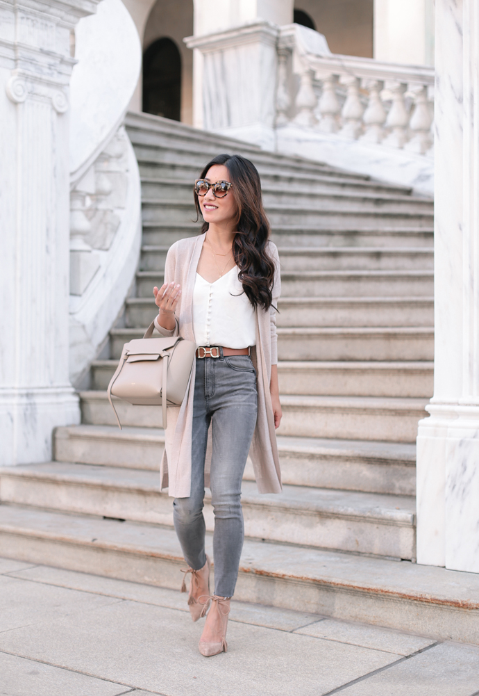 how to layer outfits with petite jeans and cardigans from express nordstrom