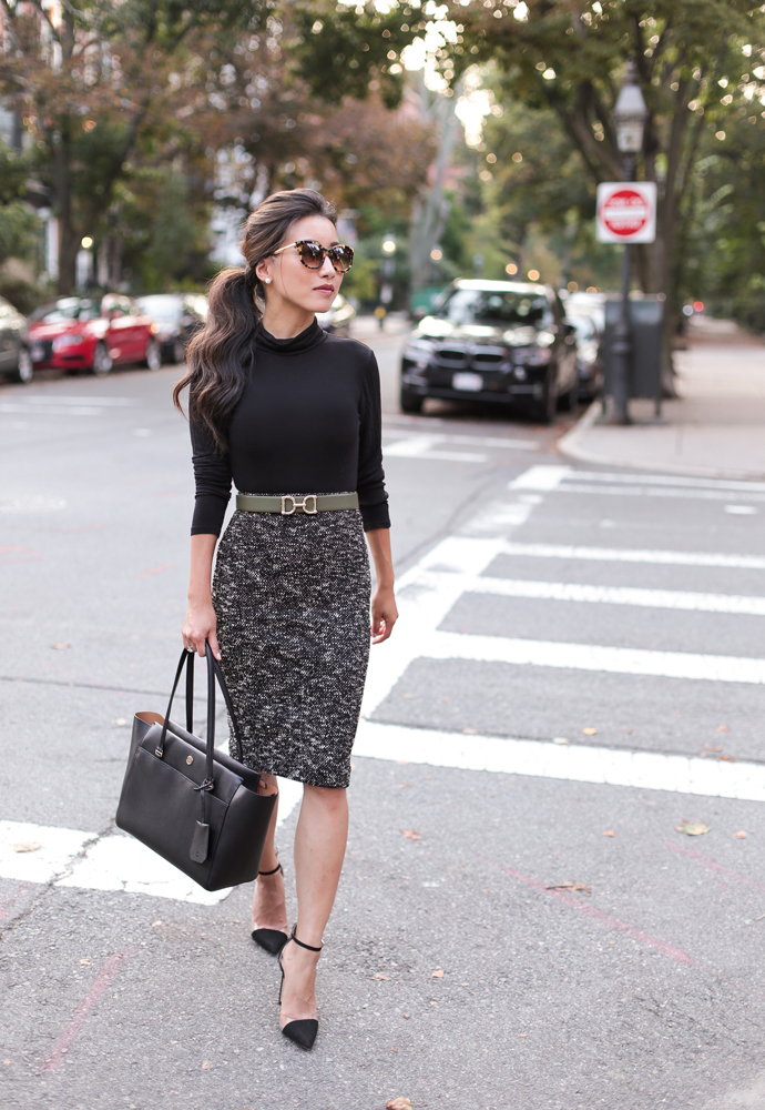 Fall office style // Olive jacket + tweed pencil skirt