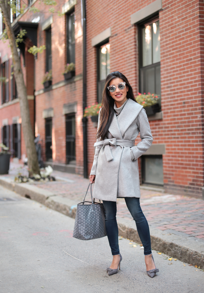 belted wrap coat for winter_gray goyard st louis tote