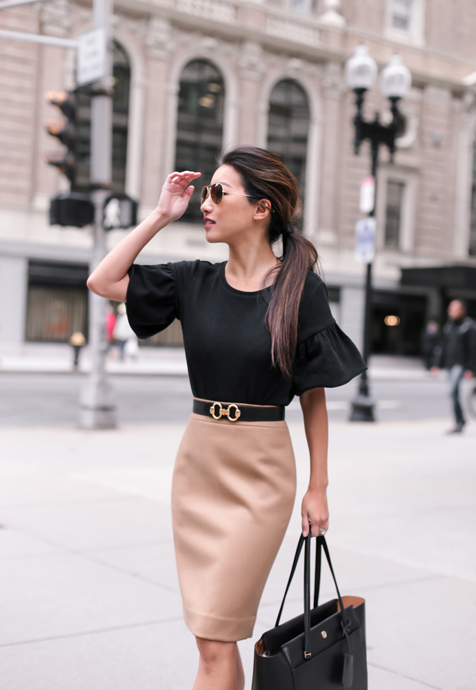 black petite top hermes belt pencil skirt dressy fall outfit