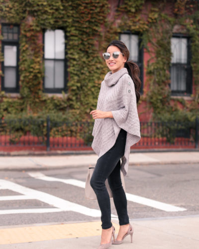 Fall wardrobe staple: the poncho sweater (4 options for petites)