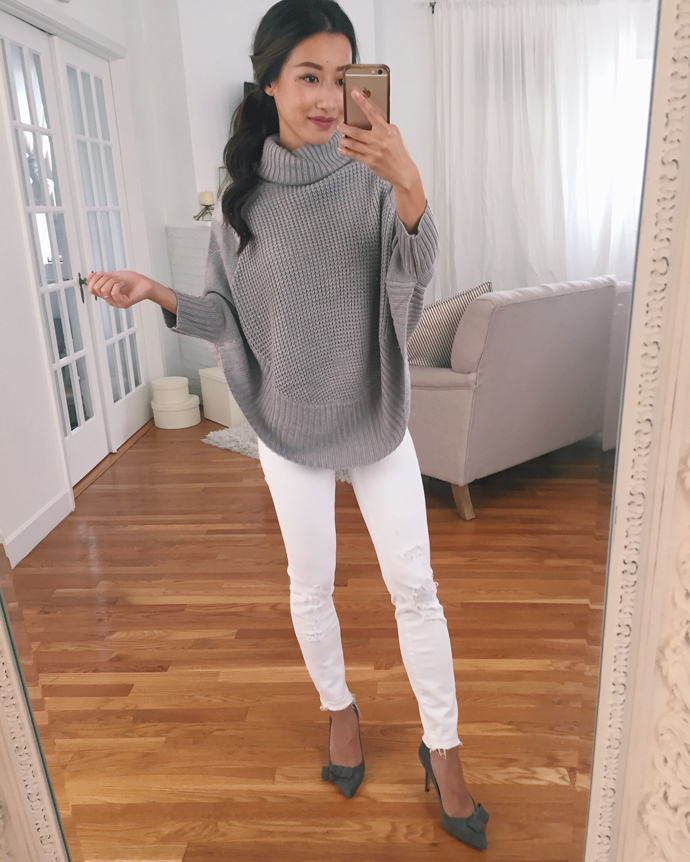 cute fall outfits for petite women white jeans poncho sweater