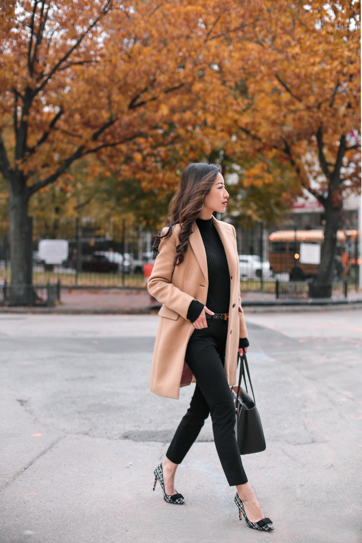 camel wool winter coat black outfit petite fashion blog