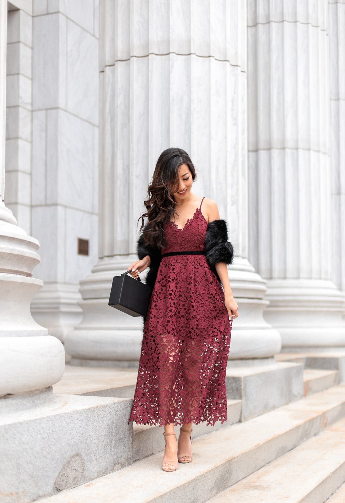 holiday party long burgundy lace maxi midi dress
