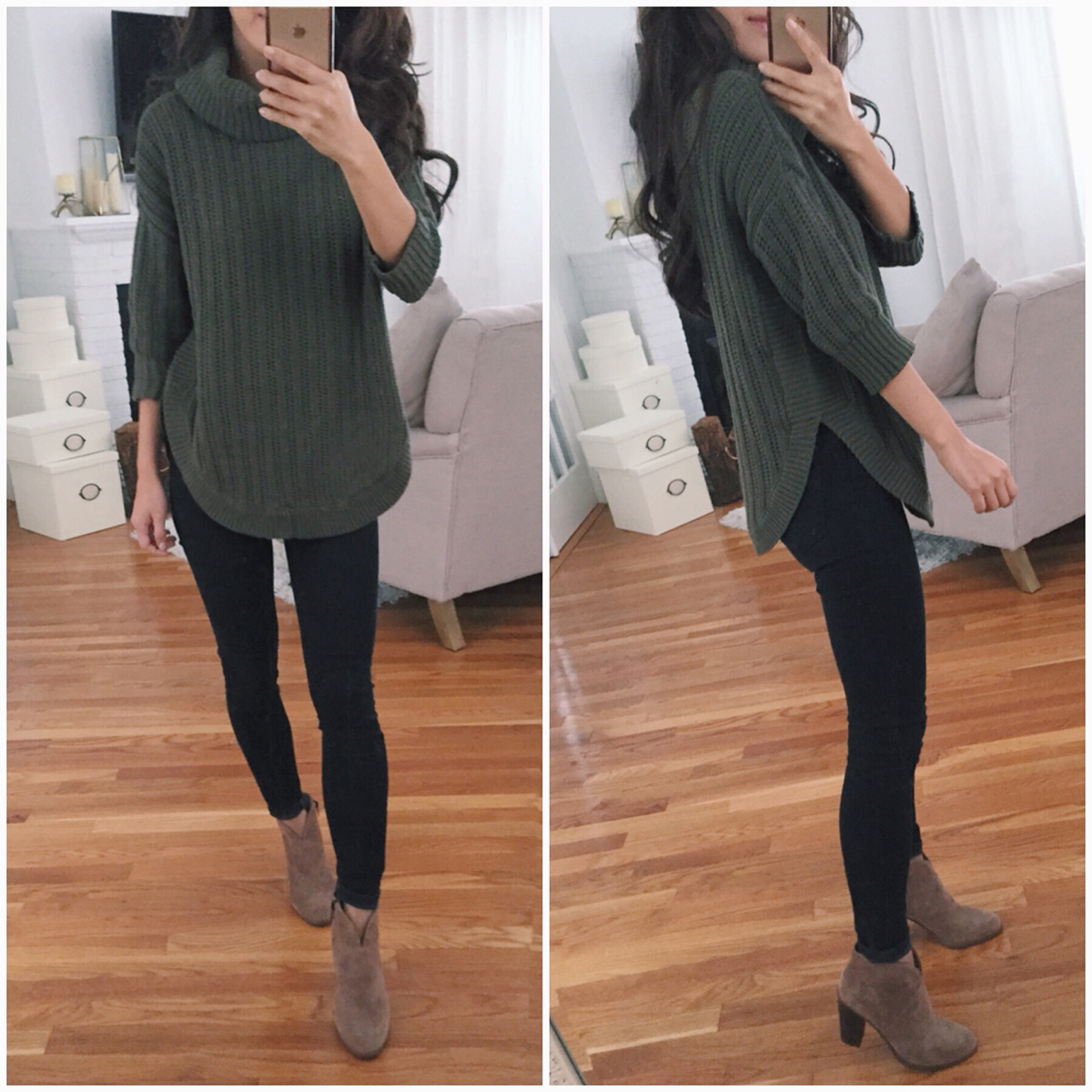 Faux leather skirt + Fall sale reviews (sweaters + boots!)