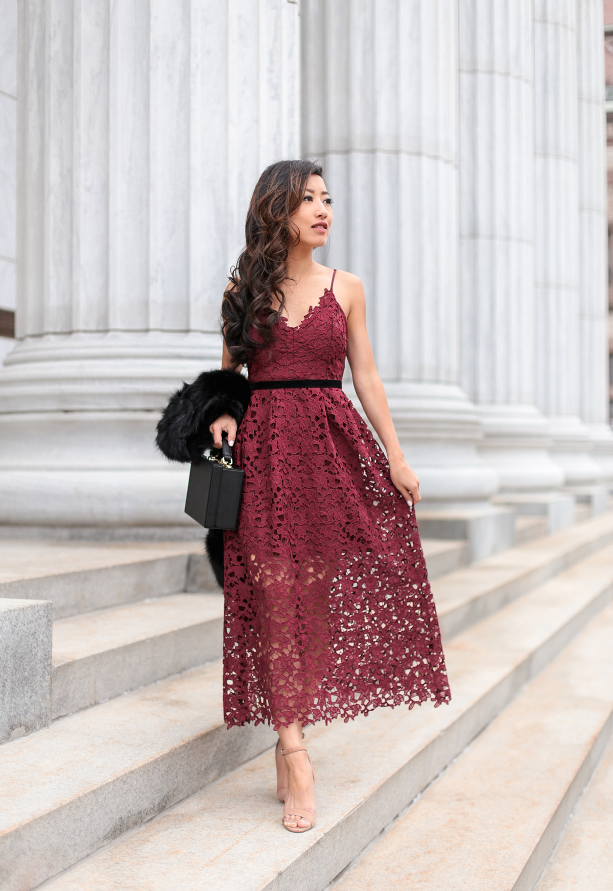 Burgundy Maxi // Holiday lace dress + faux fur scarf