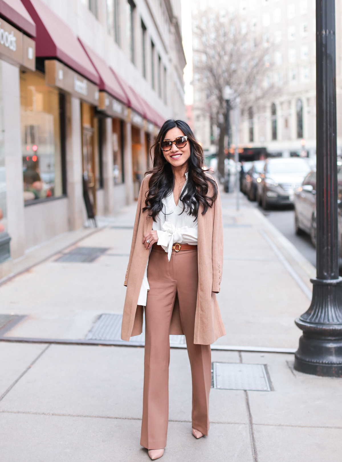 Winter Workwear // Long layers + bow sleeve blouse - Extra Petite