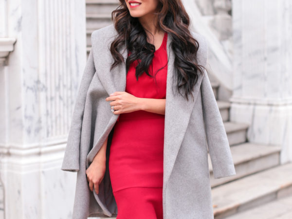 winter party outfit elegant red dress boston blogger
