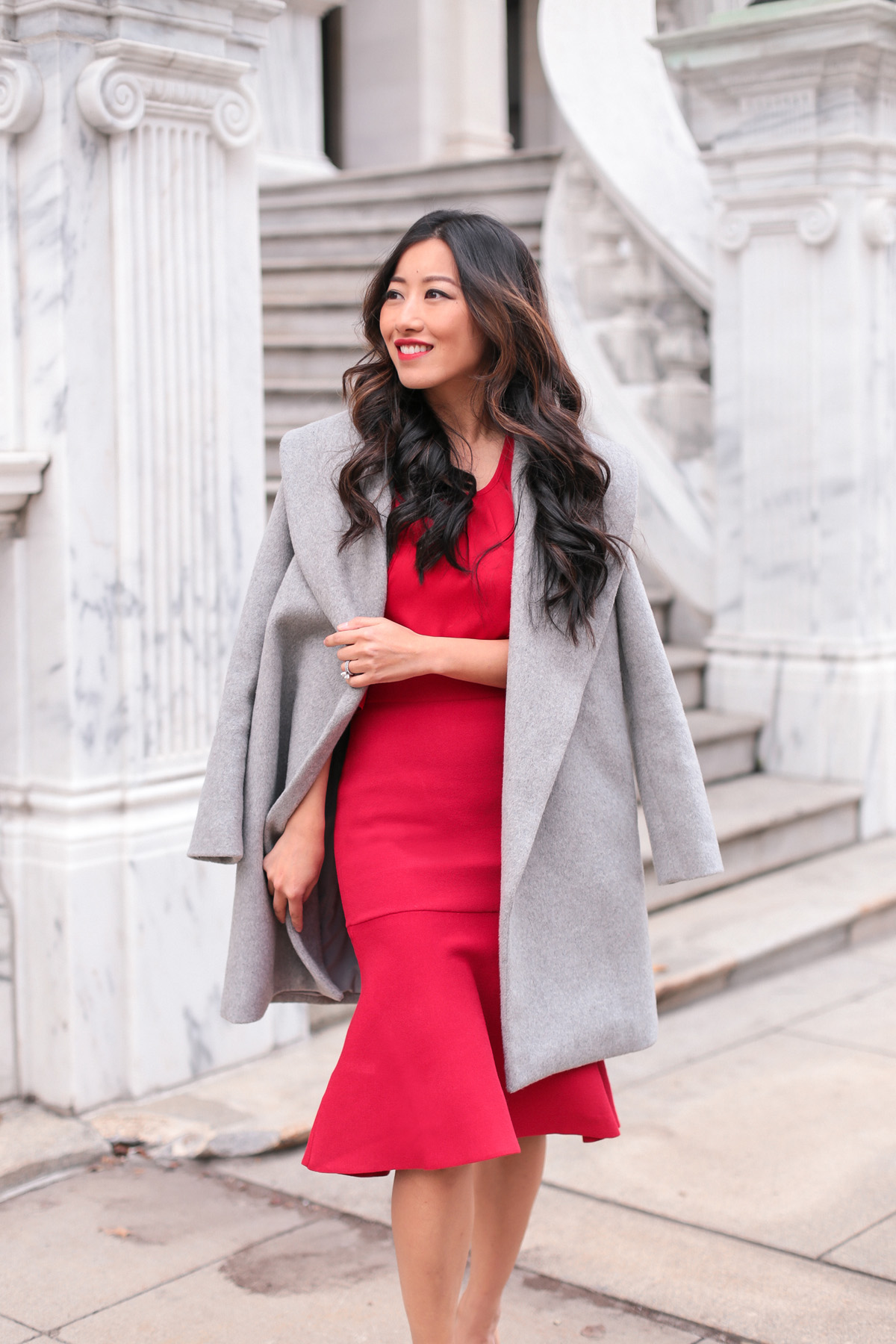 Lady in Red // Flared knit skirt + ruffle sleeve top