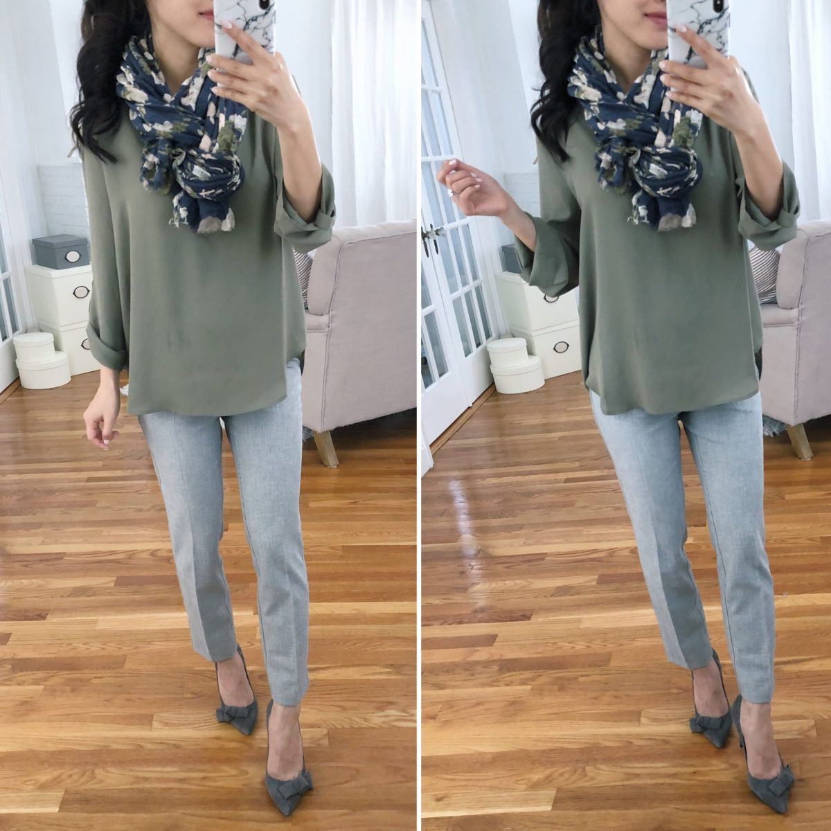 Work outfit ideas that camouflage the belly